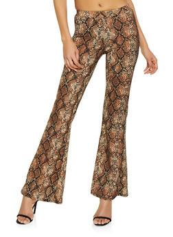 Snake Print Flared Pants - 1061020626471