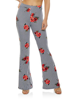 Soft Knit Striped Floral Flared Pants - 1061020626576