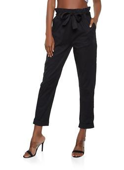 Fixed Cuff Paper Bag Waist Pants - Black - Size L - 1061038340203