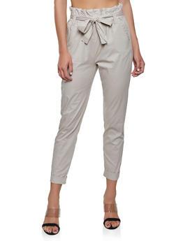 Fixed Cuff Paper Bag Waist Pants - 1061038340203