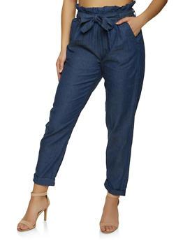 Chambray Tie Waist High Waisted Pants - 1061038340220