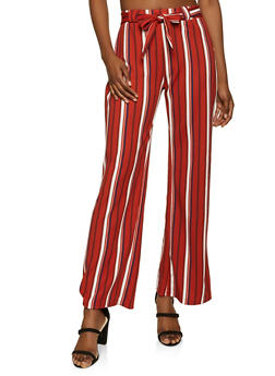 Tie Front Striped Palazzo Pants - 1061038340605