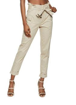 Paper Bag Tie Waist Cargo Pants - 1061038341204