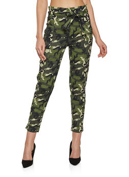 Paper Bag Waist Camo Cargo Pants - 1061038341210