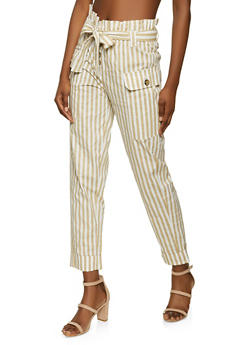 Striped Paper Bag Waist Pants - 1061038341211
