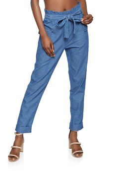 Denim Paper Bag Waist Cargo Pants - 1061038341234