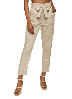 Fixed Cuff Paper Bag Waist Pants - 1061038342120