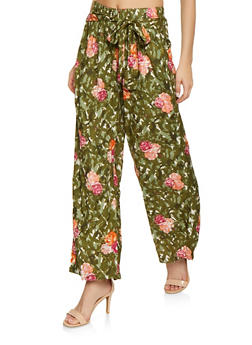 Striped Tie Front Palazzo Pants | 1061038342230 - OLIVE - 1061038342230