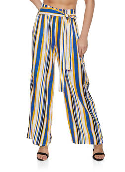 Striped Tie Front Palazzo Pants | 1061038342230 - YELLOW - 1061038342230