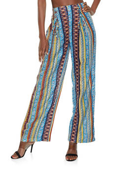 Lace Up Printed Palazzo Pants - 1061038342232