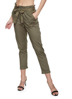 Paper Bag Waist Pants - 1061038342901