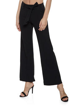 Tie Front Flared Pants - Black - Size S - 1061038343501