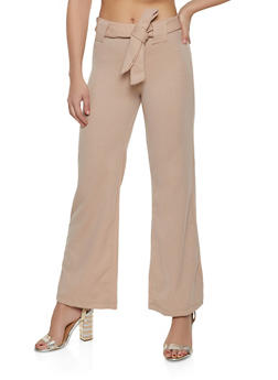 Tie Front Flared Pants - 1061038343501
