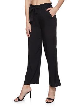 Tie Front Paper Bag Waist Pants - Black - Size M - 1061038349125