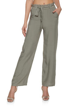 Tie Front Paper Bag Waist Pants - 1061038349125