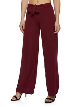 Crepe Knit Tie Front Dress Pants - 1061038349190