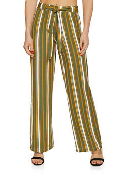 Textured Knit Striped Palazzo Pants - 1061038349191