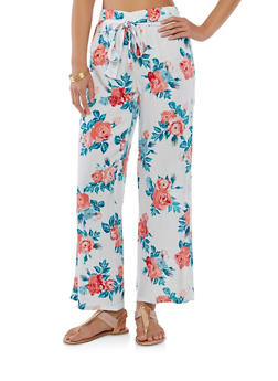 Printed Tie Front Palazzo Pants - IVORY - 1061038349230
