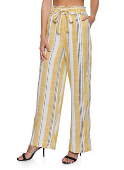 Tie Waist Striped Paper Bag Waist Pants - 1061051063114