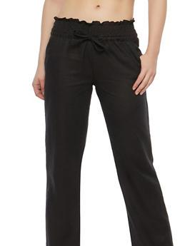 Smocked Waist Linen Pants - 1061051063563