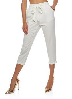 High Waisted Crepe Knit Cuffed Pants - 1061051063595