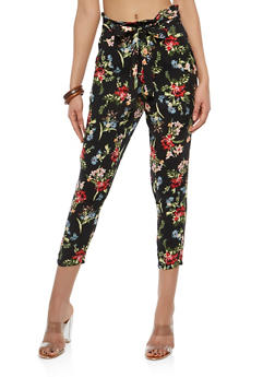 Tie Front Printed Crop Pants - BLACK - 1061051063617