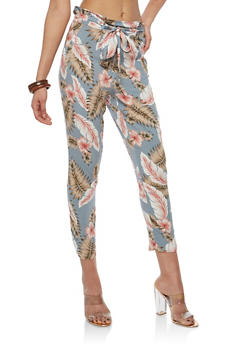 Tie Front Printed Crop Pants - GRAY - 1061051063617