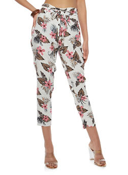Tie Front Printed Crop Pants - CREAM - 1061051063617