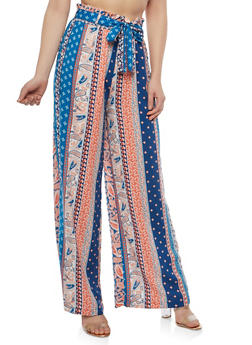 Printed Palazzo Pants with Belt - NAVY - 1061051063619