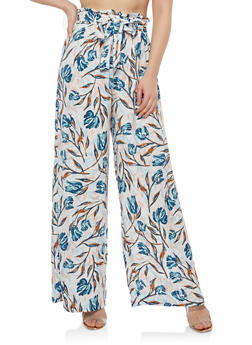 Printed Palazzo Pants with Belt - MAUVE - 1061051063619
