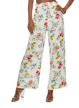 Floral Gauze Knit Palazzo Pants - IVORY - 1061051063627