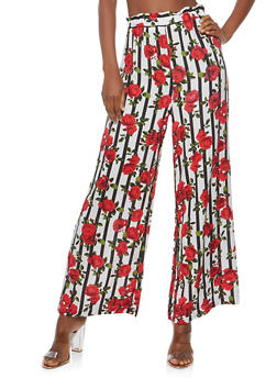 Floral Gauze Knit Palazzo Pants - WHITE/RED - 1061051063627