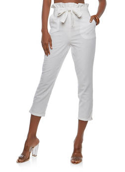 Ruffle Waist Belted Trousers - 1061051063635