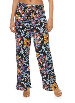 Floral Tie Front Palazzo Pants - 1061051063680