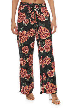 Floral Tie Front Palazzo Pants - BLACK/ORANGE - 1061051063680