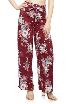Floral Tie Front Palazzo Pants - BURGUNDY - 1061051063683