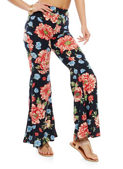 Floral Bell Bottom Pants - NAVY - 1061051063693