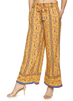 Border Print Paper Bag Waist Pants - 1061051063714