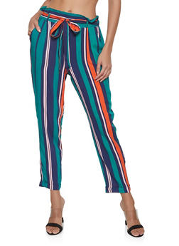 Striped Paper Bag Waist Pants - 1061051063940