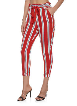 Striped Paper Bag Waist Pants - 1061051063940