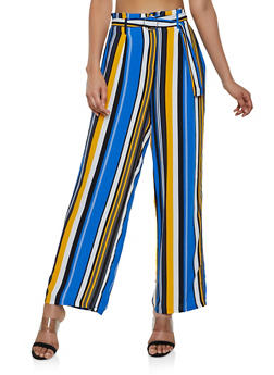 Belted Striped Palazzo Pants - 1061051064044
