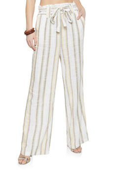 Paper Bag Waist Striped Palazzo Pants - 1061051064113