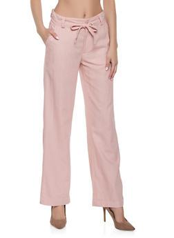Tie Waist Linen Pants - 1061051064154