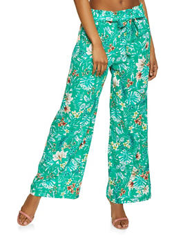 Floral Tie Waist Linen Palazzo Pants - GREEN - 1061051064157