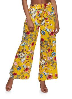 Floral Tie Waist Linen Palazzo Pants - 1061051064157