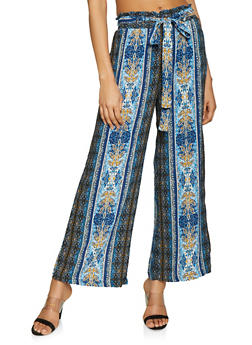 Printed Paper Bag Waist Pants - NAVY - 1061051064172
