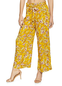 Printed Paper Bag Waist Pants - MUSTARD - 1061051064172