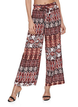 Printed Paper Bag Waist Pants - RUST - 1061051064172