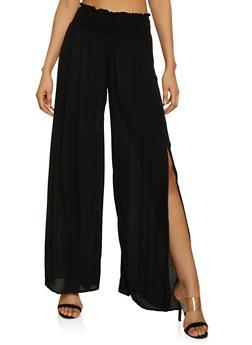 Smocked Waist Split Leg Palazzo Pants - Black - Size S - 1061051064176