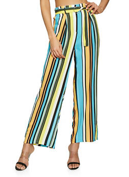 Striped Belted Palazzo Pants - 1061051064404